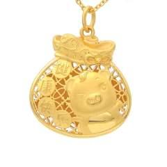 六福珠宝黄金项链吊坠女生肖福袋金猪吊坠足金不含链计价GDG