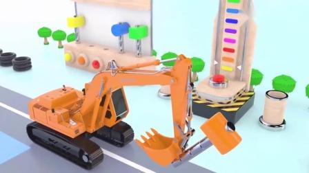 挖土機教會寶寶認識英語學顏色,敲擊變出各種彩色球,啟蒙動畫