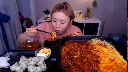 韩国吃播-挑食的新姐-20200210【章鱼豆芽芝士锅、饭团、桔子】-1