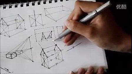 产品设计手绘系列基础教学视频——斜角立方体画法