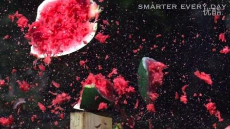 慢动作马铃薯枪炮击碎西瓜惊人视频