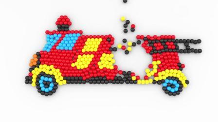親子動畫 3D彩球圍成消防車飛機和輪船的形狀學習顏色