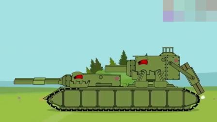 坦克世界搞笑动画:多炮塔KV11整装待发