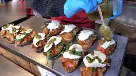 伦敦街头的特色美食,面包配上西红柿和芝士,看着就非常美味!
