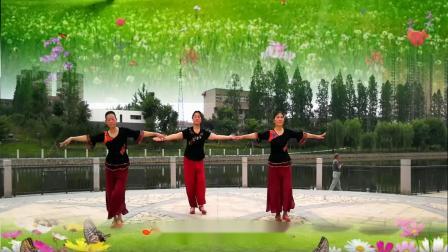 湖北兰兰广场舞 民族舞蹈¡¶心上的罗加¡·三人版 正面演示