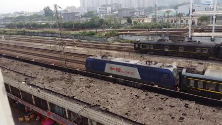 广铁长段的HXD3C型电力机车牵引K328次列车进广州北站停车
