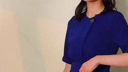罗衣连衣裙2019夏装新款气质深蓝色五分袖修身鱼尾摆中长裙子7246