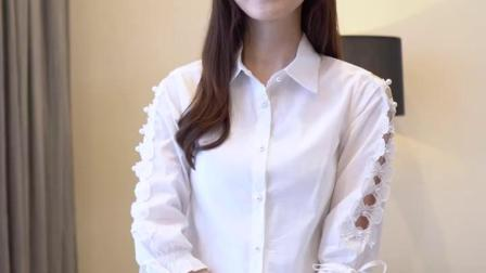 白衬衫女七分袖夏装新款蕾丝花边镂空蝴蝶结系带修身显瘦纯棉衬衣