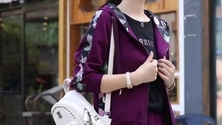 君晓天云运动套装女秋季新款女装时尚休闲套装韩版连帽运动衫女秋装三件套潮