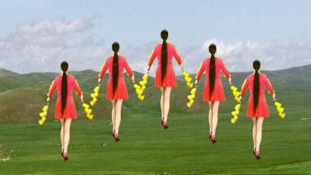 点击观看《焦陂百和广场舞《摘石榴》16步花棍舞正背面附教学》