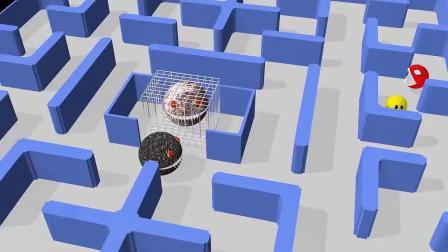 不同种类的吃豆人在迷宫内战斗