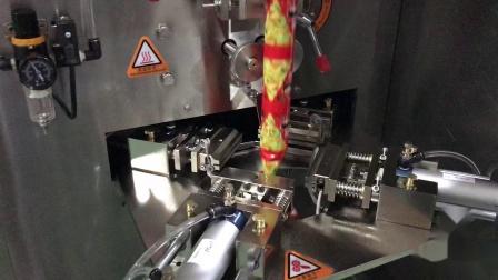 三角包(红色膜)自动颗粒包装机演示视频