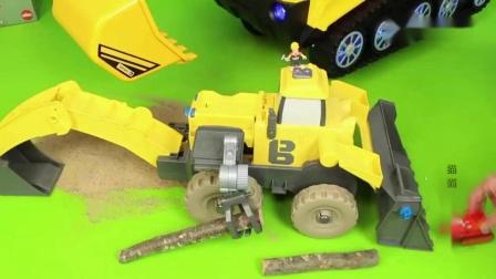 挖掘機挖土視頻,創意挖機攪拌車作業表演游戲