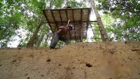 荒野牛人徒手打造丛林滑道泳池,一般人真做不到