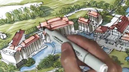 陈马带总导师-城市规划鸟瞰图马克笔上色视频-广州疯狂手绘培训
