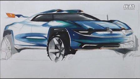 雷诺汽车手绘马克笔快速表现教学视频33
