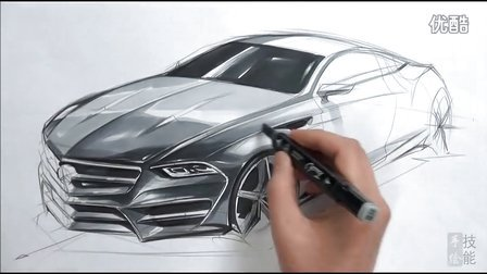 梅赛德斯奔驰s-class coupe汽车设计手绘马克笔上色视频教程
