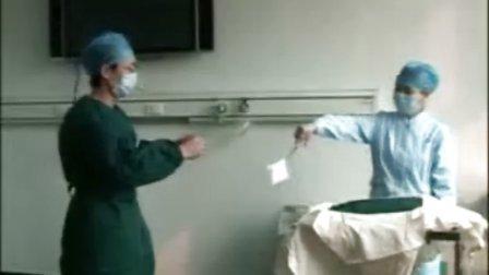 手术区消毒,穿手术衣,戴无菌手套