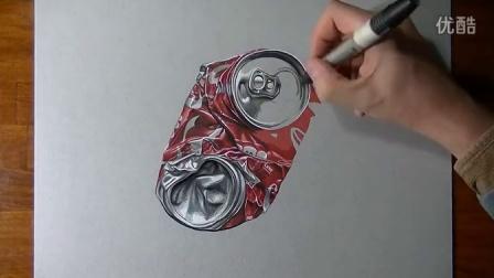 【藤缠楼】牛人手绘一个踩扁了的可口可乐罐画