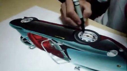 保时捷汽车马克笔手绘视频教程