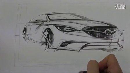 奔驰汽车设计单搞手绘视频教程