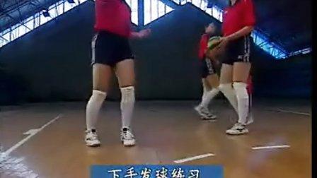 排球视频教学:02(双手正面传球、下手发球、素质训练)
