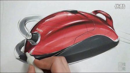 bosch吸尘器设计马克笔上色手绘视频教程