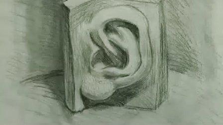 素描石膏耳朵步骤