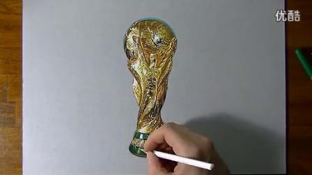 意大利立体画家 彩色铅笔手绘 大力神杯3d画 高清写实