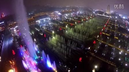 航拍西安大雁塔北广场喷泉