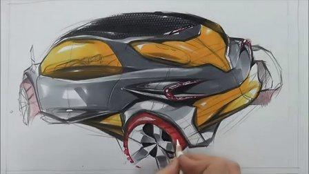 汽车手绘马克笔快速表现教学视频5