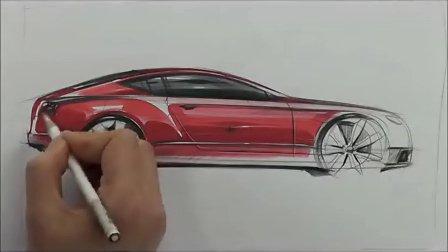 汽车手绘马克笔快速表现教学视频8