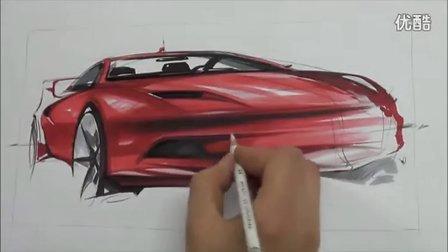 汽车手绘马克笔快速表现教学视频17