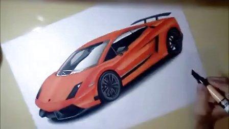 兰博基尼汽车马克笔手绘视频教程