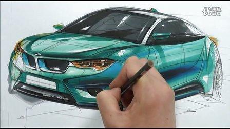 宝马汽车马克笔上色手绘视频教程