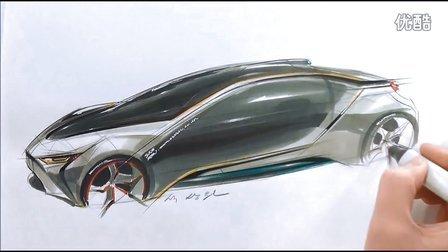 汽车设计手绘马克笔分享展示