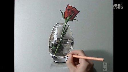 透明玻璃杯和玫瑰马克笔手绘视频
