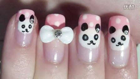 【美甲教程】 可爱小熊猫