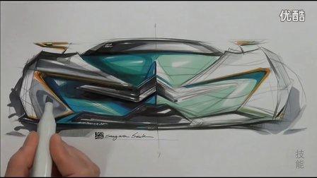 雪铁龙汽车设计马克笔上色手绘视频教程