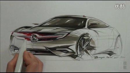 奔驰汽车马克笔上色手绘视频教程