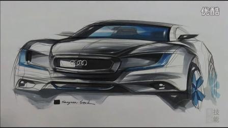 奥迪汽车马克笔手绘视频教程 韩国设计师