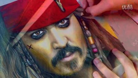 【藤缠楼】美女画家手绘《加勒比海盗》杰克船长画像 [heather rooney