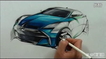 雪铁龙汽车设计马克笔手绘上色视频教程