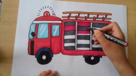 画消防车救火-儿童画救火车根李老师学画画