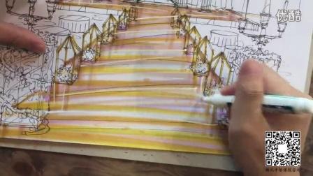 最强婚礼手绘教程001-镜面t台马克笔上色方法