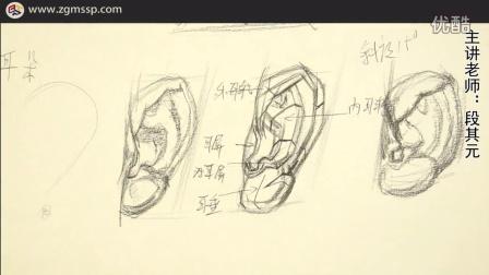 结构耳朵 素描课程 素描石膏体教学视频