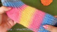 彩虹袜子圣诞袜地板袜的编织方法 85