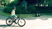 小坡示范自行车脱把下坡拐弯(迪卡侬Rockrider500儿童山地车)