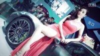 性感高开叉紧身红裙气质靓丽美女车模