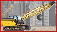 吊车强拆房屋 挖掘机搅拌机挖土机推土机装载机货车工程车建筑模拟消防车警车工作视频玩具视频汽车总动员亲子游戏爱探险的朵拉迪亚哥倒霉熊出没乐高
